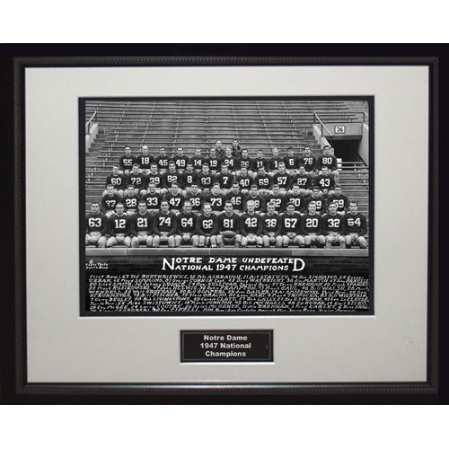 NCAA Notre Dame Fighting Irish 1947 National Championship Team Portrait Framed Igned 16x20 Photo by Steiner Sports