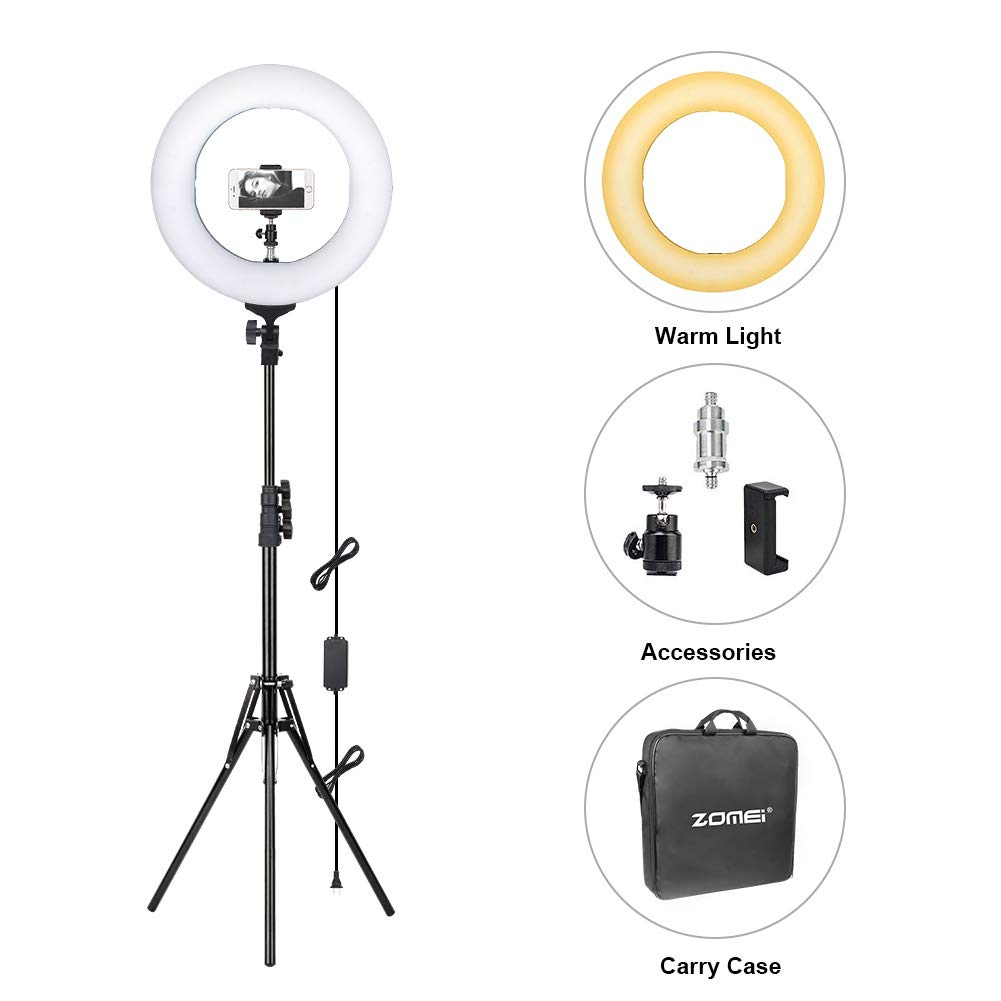 ZOMEi 14'' Dimmable Ring Light Makeup Lighting, Light Stand, Carrying Bag for Camera, Smartphone YouTube, Self-Portrait Shooting