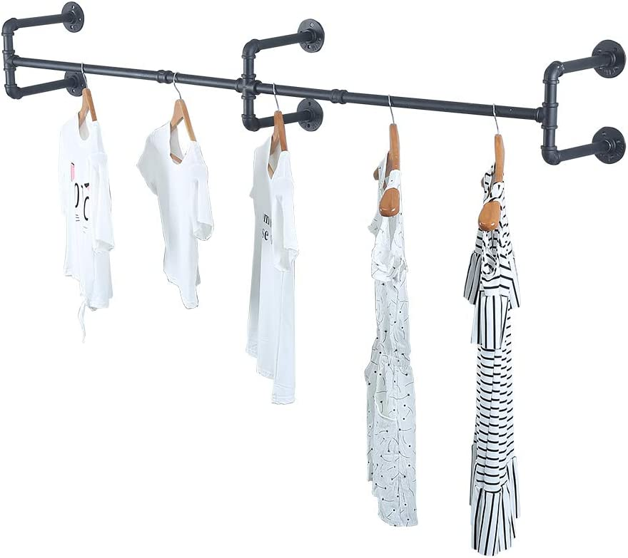 Industrial Pipe Clothing Rack Wall Mounted,Vintage Retail Garment Rack Display Rack Cloths Rack,Metal Commercial Clothes Racks for Hanging Clothes,Black Iron Clothing Rod Laundry Room Decor(70.86in)