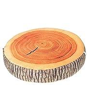 LANFIRE 3D Tree Wood Slice Memory Foam Soft Throw Cushion Log Pillow Doll Chair Seat Pad for Home Office Gingko Tree Fruit Cushion Sofa Foam Pillow (Cushion 01)
