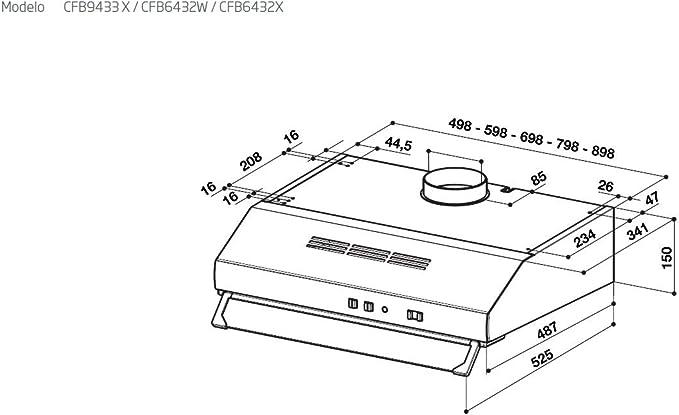 Beko CFB 6432 X - Campana (Canalizado, 300 m³/h, 61 Db, Incorporado, Acero inoxidable, Color blanco, Barra de desplazamiento), 59,8 x 48,2 x 15 cm: Amazon.es: Grandes electrodomésticos