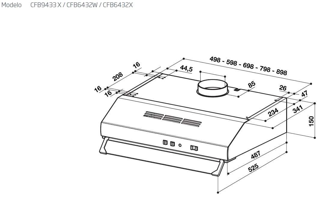Beko CFB 6432 X ED 8904980220 DUNSTABZUG UNTERBAUHAUBE Umluftfähig mit Filter
