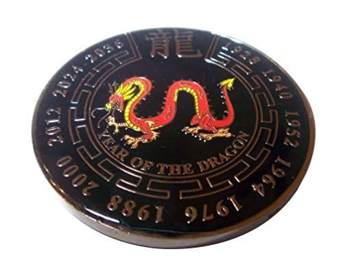 Black Year of the Dragon Commerative Poker Weight Coin - Poker Coin Card Guard