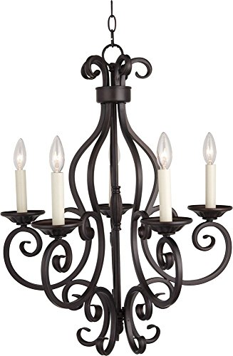 Maxim 12215OI Manor 5-Light Chandelier, Oil Rubbed Bronze Finish, Glass, CA Incandescent Incandescent Bulb, 60W Max, Wet Safety Rating, Standard Dimmable, Glass Shade Material, 672 Rated (Manor Oil Rubbed Bronze Chandelier)
