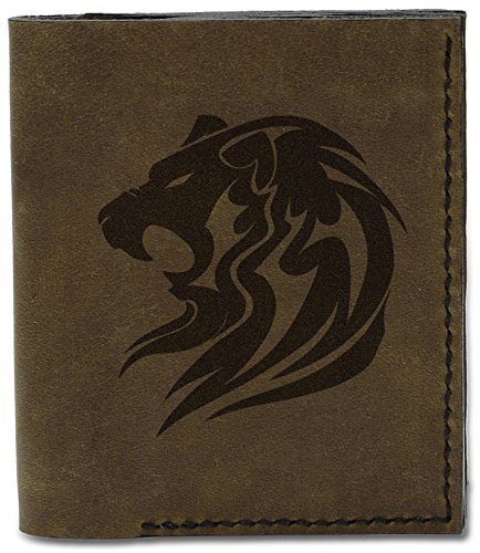 Men's d Leather Natural Tatoo Genuine 04 Wallet Tatoo MHLT Style Lion 27 Handmade Lion Style f6rgWf