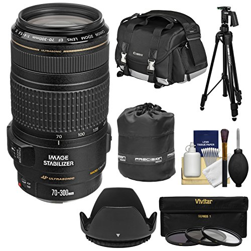 UPC 689466828870, Canon EF 70-300mm f/4-5.6 IS USM Zoom Lens with 3 UV/CPL/ND8 Filters + Case + Tripod & Pistol Grip Ball Head + Hood + Kit for EOS DSLR Cameras