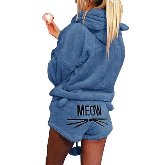 Minetom Mujer Otoño Invierno Pijama de Dos Piezas Conjunto Suave Cálida Lana de Coral Traje de Terciopelo Lindo Gato Kitty Pantalones Cortos y ...