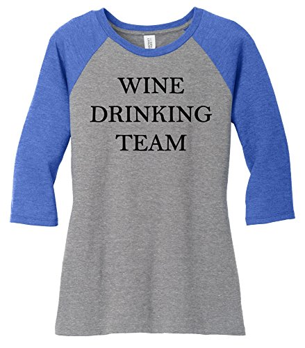 Comical Shirt Ladies Wine Drinking Team Tee Royal Frost/Grey Frost (Wine Drinking T-shirt)