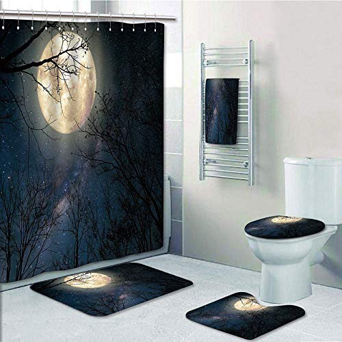Bathroom 5 Piece Set shower curtain 3d print Customized,Night Sky,Nocturnal Sky Milky Way Stars Twilight Moon Scenery with Branches,Dark Blue White and Black,Bath Mat,Bathroom Carpet Rug,Non-Slip,Bath