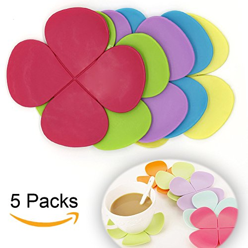 Silicone Coasters Set of 5 Colorful Flower Mug Coasters Mats Pad Cushion Drinks Tea Cup Holder (Flowers Coasters)