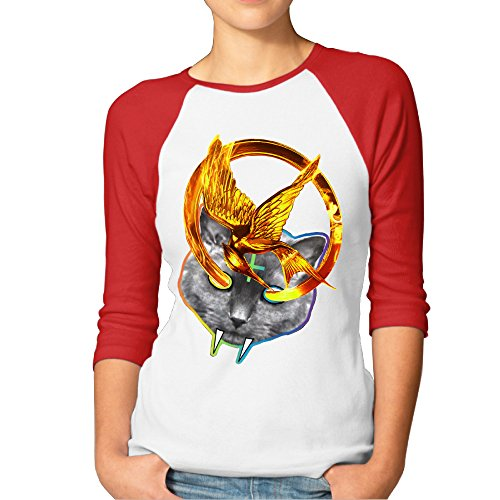 GOOOET Women's Odd Future Hunger Games 3/4 Sleeve Cotton Tee Shirts Red XXL (Hunger Games Custome)
