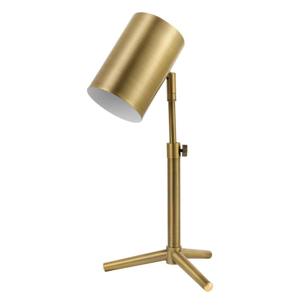 "Globe Electric 52097 Pratt 18"" Desk Lamp, Matte Brass Finish, Adjustable Height, In-Line Rocker On/Off Switch"