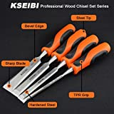 KSEIBI 312130 Premium Wood Chisel Set Chrome Manganese Blades for Woodworking, Carving, Soft Grip Handles W Hammer Steel-end Cap 4-Piece