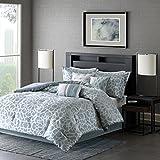 Madison Park MP10-2378 Carlow 7 Piece Comforter Set, California King, Blue