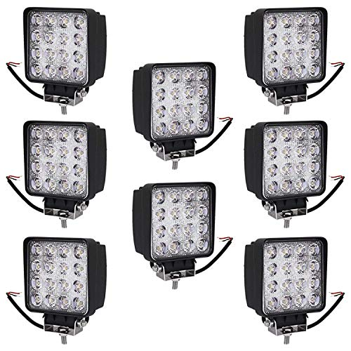 Turboo 8X 4 Inch 48W LED Light Bar, Waterproof IP67 Super Bright, Led Bar Fog Lights Pods Lights Driving Light for Off-Road, ATV, SUV, Jeep, Boat, Trailer, Tractor, Truck, 1 Year Warranty (48 Watt Led Tractor Lights)