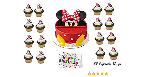 24 Minnie Mouse PRECUT Edible Cupcake Toppers wafer card disc cake decorations Stand UpLie Flat