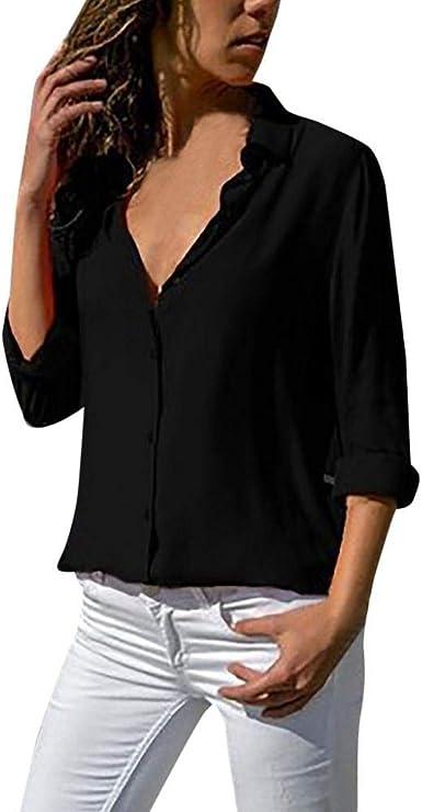VJGOAL Camisas de Gasa para Mujer Camisetas de Manga Larga de Solapa Color Sólido Blusas Otoño Tops con Botones
