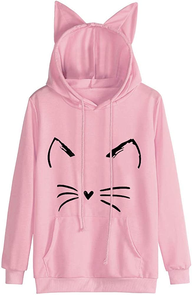 LEXUPA Womens Cat Long Sleeve Hoodie Sweatshirt Hooded Pullover Tops Blouse