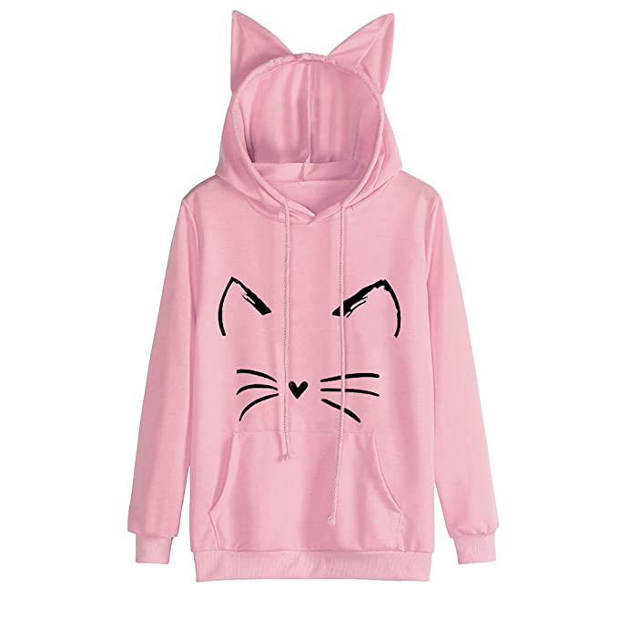 Amazon.com: NREALY Womens Cat Ear Solid Long Sleeve Hoodie Sweatshirt Hooded Pullover Tops Blouse: Clothing
