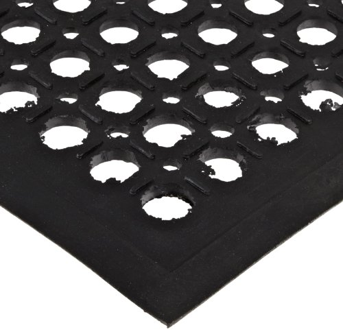 NoTrax 504 General-Purpose Rubber Beveled Drain-Step Anti-Fatigue/Anti-Slip Floor Mat, for Wet Areas, 3' Width x 5' Length x 1/2'' Thickness, Black by NoTrax Floor Matting (Image #2)