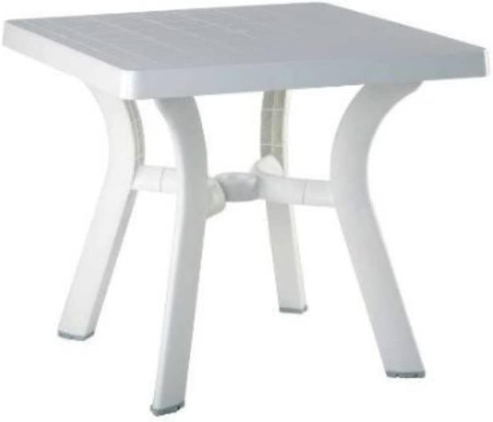Compamia Viva Resin Square Dining Table 31 Inch White 29 H x 31 W x 31 D