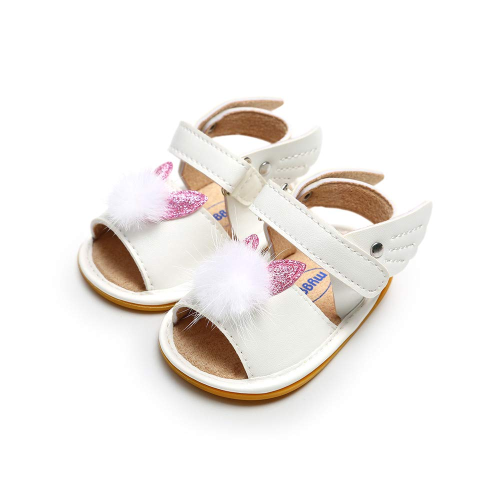 Baby Girls Flat Sandals Rubber Sole Toddler Fisrt Walkers Non-Slip Princess Summer Shoes