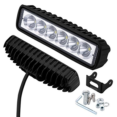 LED-Light-Bar-18W-2PCS-Spot-Work-Lights-LED-Work-Light-1800LM-LED-Spot-Beam-Driving-Fog-Lights-Off-Road-Waterproof-PMMA-Lens-for-TruckJeepBoatVehicleCarATV2PCS-Spot-Black-