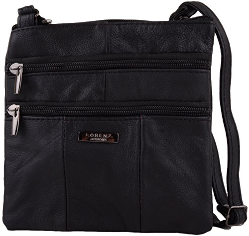 Ladies / Womens Small Leather Cross Body / Shoulder Bag with Multiple Features Black