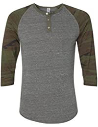Men's Raglan 3/4 Sleeve Henley Shirt