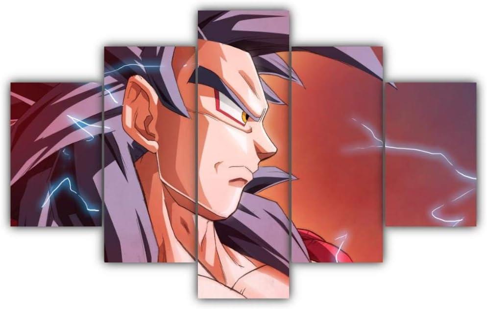 Piy Painting 5 Piezas Cuadro sobre Lienzo Imagen Goku Ssj4 Impresión Pinturas Murales Decor Dibujo con Marco Fotografía para Oficina Aniversario200X100Cm