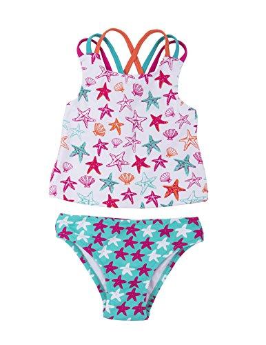Hatley Little Girls' Sporty Tankini Sets, Starfish, 6 Years