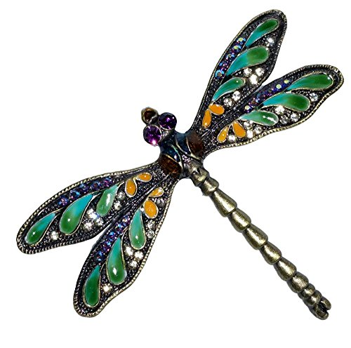 Welforth Green Wing Dragonfly Bronzed Pewter Austrian Crystal Enamel Pin ()