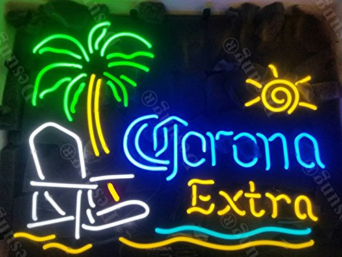"""Desung New 20""""x16"""" Corona Extra Palm Tree Beach Chair Sun Neon Sign (Multiple Sizes Available) Man Cave Sports Bar Pub Beer Glass Neon Light Lamp CX154"""