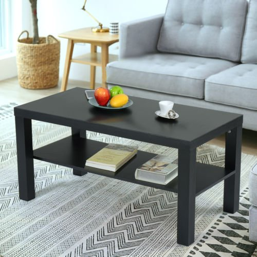 Coffee End Table Rectangle Modern Living Room Furniture w/ Storage Shelf Black - Kidney Shape Accent Table