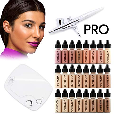 Aeroblend Airbrush Makeup PRO Starter Kit - Professional Cosmetic Airbrush Makeup System - 24 Color by Aeroblend