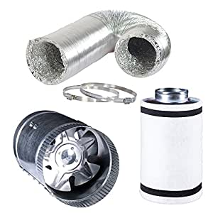 """Hydro Crunch 4 inch 100 CFM Booster Fan & 4"""" x 12"""" Carbon Filter with 4"""" x 25ft. Ducting Hydroponic Ventilation Kit"""