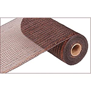 10 inch x 30 feet Deco Poly Mesh Ribbon - Metallic Chocolate Brown and Copper : RE1301E2