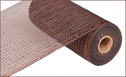 (10 inch x 30 feet Deco Poly Mesh Ribbon - Metallic Chocolate Brown and Copper : RE1301E2)