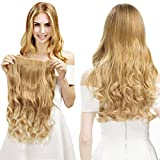 REECHO 20' 1-Pack 3/4 Full Head Curly Wave Clips in on Synthetic Hair Extensions Hairpieces for Women 5 Clips 4.6 Oz per Piece - Natural Black