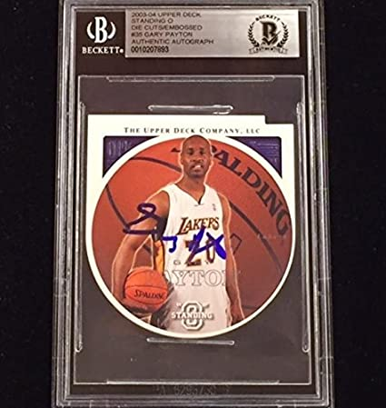 f82a614df5b GARY PAYTON Signed 2003-04 Die-Cut LAKERS Auto card BAS BGS Beckett ...