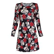 577Loby Punk 3D Printed Skull Skeleton Dresses O-Neck Sexy Dress