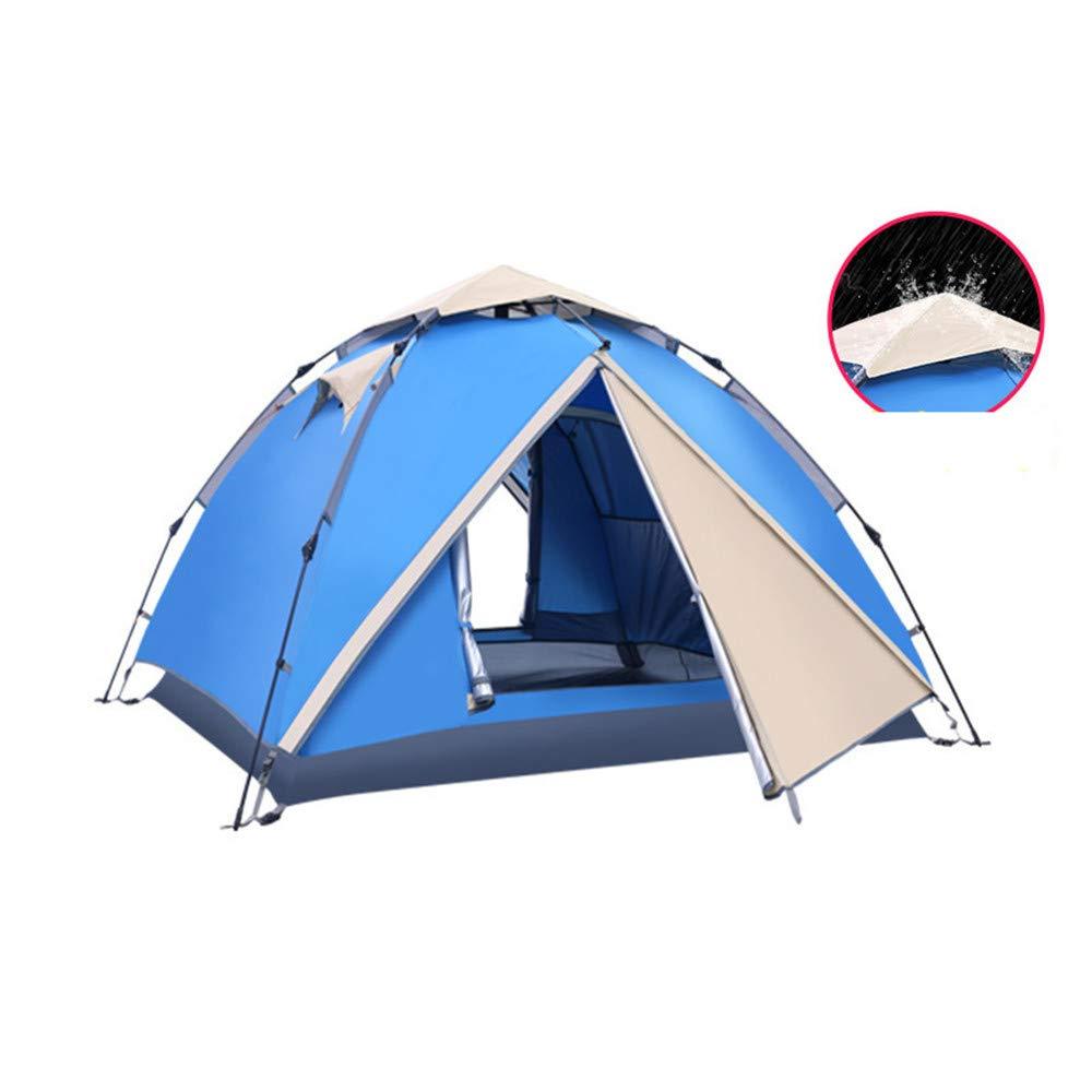 Xiaoqin Wasserdichtes Familien-Campingzelt Automatische Familie Sun Zelt Dome Zelte Pop Up Zelt Waterpoof Camping Zelt 2-4 Man Camping Festival Familienzelt (Farbe : Blau)