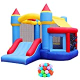 RETRO JUMP Inflatable Bouncer with Blower Kids Bounce House with Slides Bouncy Jumper House with Ball Pit & Basketball Hoop for Party Gift