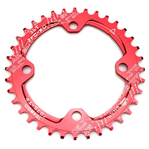 - CYSKY Narrow Wide Chainring 104BCD 36T 4 Bolts Bike Single Chainring for 9 10 11 Speed, Perfect for Most Bicycle Road Bike Mountain Bike BMX MTB Fixie Track Fixed-Gear Bicycle (Round, Red)