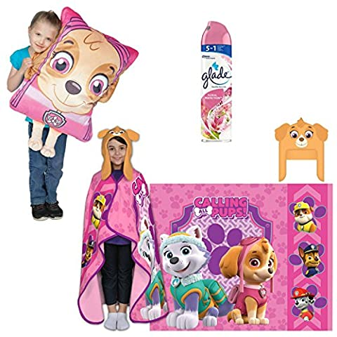 Nickelodeon's Paw Patrol Cutie Pups Cozy Hat and Throw Wrap Set with Nickelodeon's Paw Patrol Skye HUGE 3D Pillow Buddy with BONUS Glade Room Spray Air Freshener, 8 Ounce