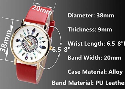 JSDDE - Montre Quartz Mixte Plume de Paon Bracelet en PU Cuir Blanc