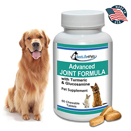 BestLife4Pets Glucosamine and Turmeric Joint Pain Relief Supplement for Dogs; Advanced Arthritis Pain Relief Increases Mobility, Eases Joint and Hip Pain, and Reduces Inflammation ()