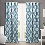 Exclusive Home Curtains Medallion Thermal Blackout Grommet Top Window Curtain Panel Pair, Teal