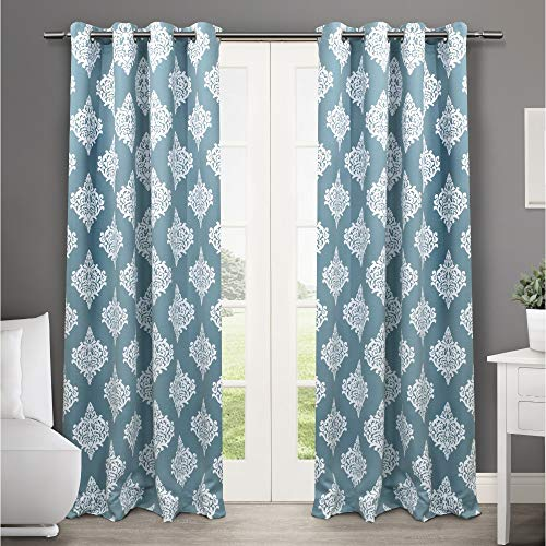 (Exclusive Home Curtains Medallion Blackout Window Curtain Panel Pair with Grommet Top, 52x84, Teal, 2 Piece)