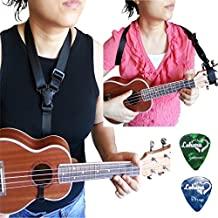 Ukulele Strap Clip On Black Color Adjustable In Various Length From Lohanu Ukulele Hook & Clips On Requires No Drilling Tapes Glues Button Free Snap On High Quality Nylon Straps Easy To Use & Carry Fits Any Uke Sizes Helps You Play Better
